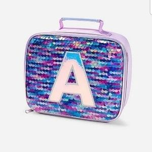 New Justice Flip Sequin Initial A Lunchbox